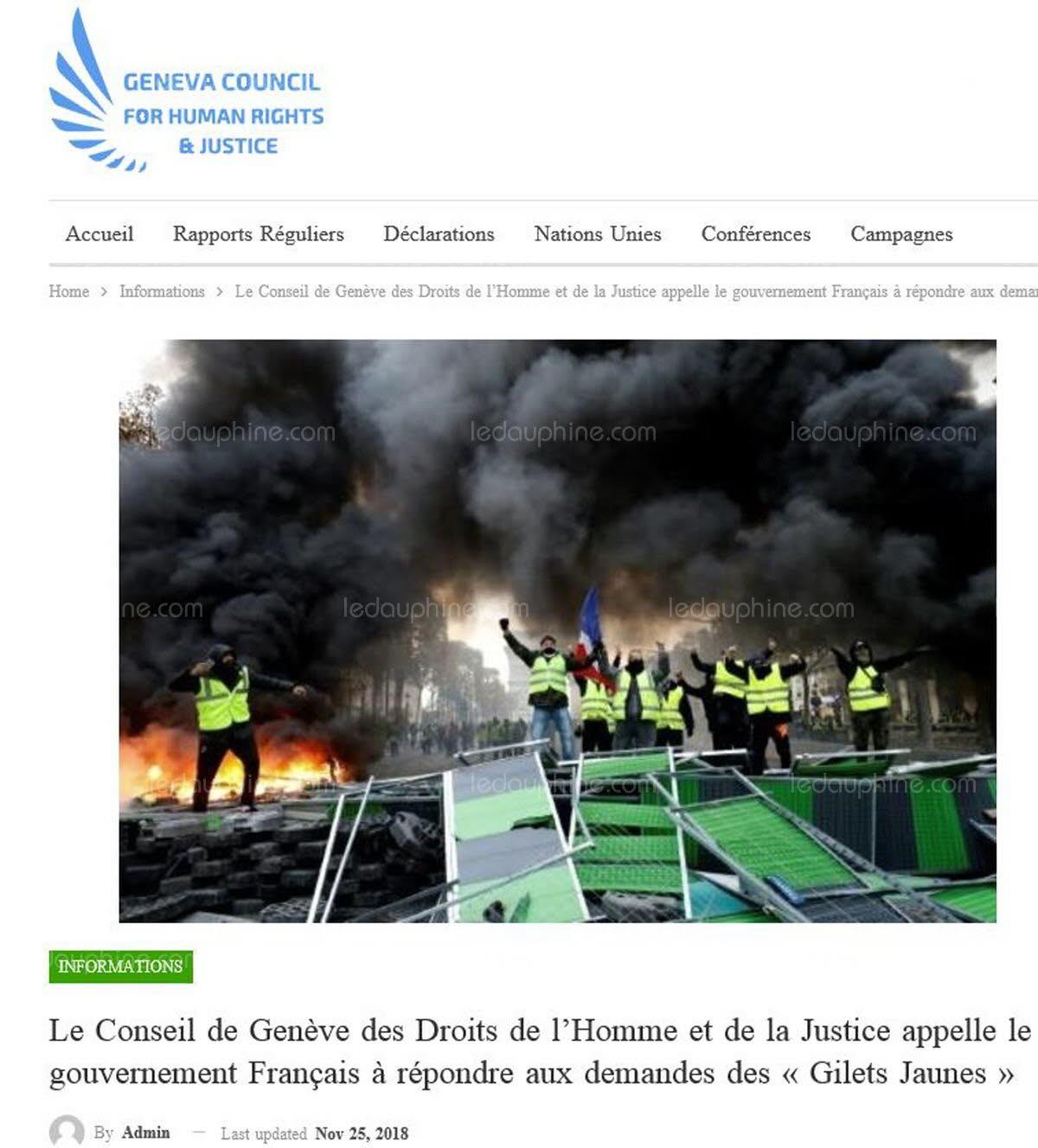Le Conseil de Genève des Droits de l'Homme & Justice CONDAMNE Le GVT
